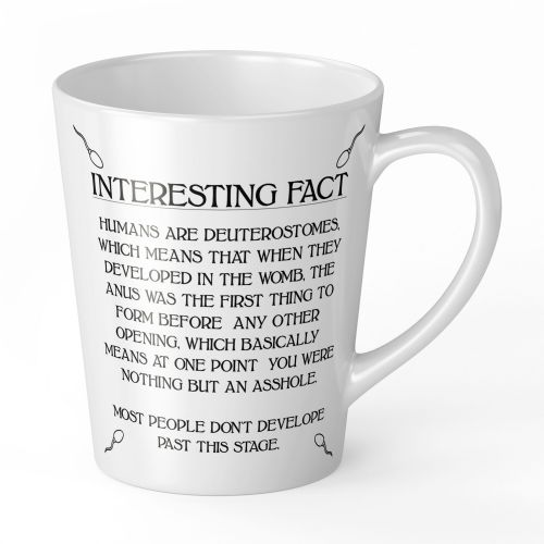 12oz Interesting Fact Humans Are Deuterostomes Novelty Gift Latte Mug (1)